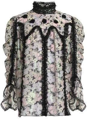 Anna Sui Lace-Trimmed Fil Coupé Silk-Blend Blouse