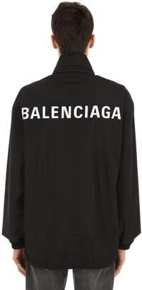 Balenciaga Hooded Logo Nylon Jacket