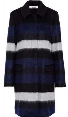 Diane von Furstenberg Striped Brushed Wool-Blend Coat