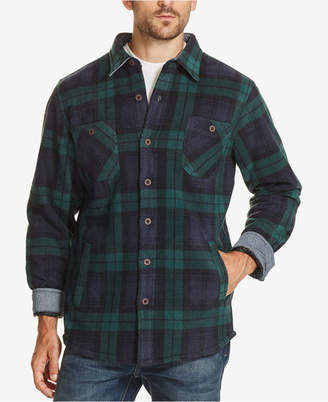 Weatherproof Vintage Men Plaid Fleece-Lined Shirt Jacket
