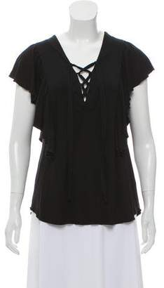 Ella Moss Ruffle-Accented Short Sleeve Top w/ Tags