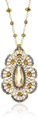 Miguel Ases Ocean Pearl and Gold Bead CZ Embroidered Pendant Necklace