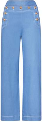 Tory Burch DENIM CROPPED SAILOR PANT