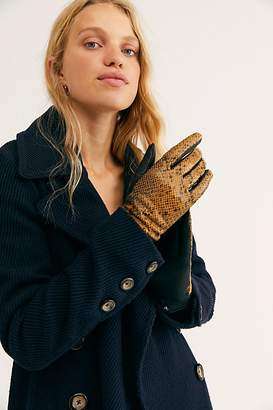 Free People Patent Leather Suede Mix Gloves