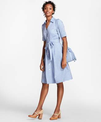 Brooks Brothers Petite Gingham Cotton Shirt Dress