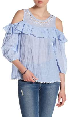 Skies Are Blue Embroidered Cold Shoulder Blouse