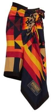 Sacai Pendleton-Knit Wrap Skirt