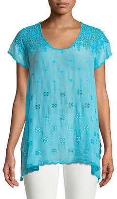 Johnny Was Darla Eyelet-Embroidered Easy Tunic, Plus Size