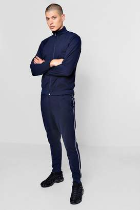 boohoo Funnel Neck Tracksuit With Contrast Piping
