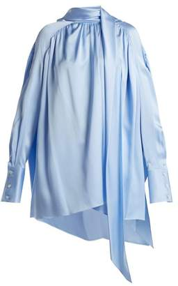 The Row Haree Shirred Silk Shirt - Womens - Light Blue