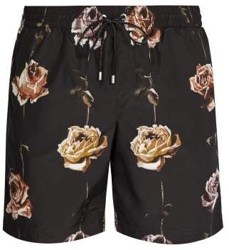 Dolce & Gabbana Rose Print Swim Shorts - Mens - Black