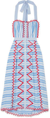 Temperley London Trelliage Embroidered Striped Cotton-poplin Midi Dress - Blue