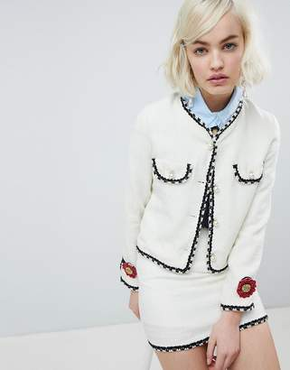 Sister Jane Cropped Tailored Jacket With Pearl Trims In Tweed Co-Ord