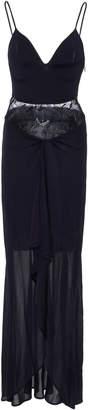 Roberto Cavalli Lace-Paneled Silk Maxi Dress
