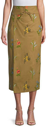 TOMORROWLAND Flower Drill High-Waist Wrap Skirt