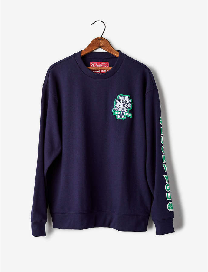 Lucky Brand HAP PATCH CREW SWEATSHIRT