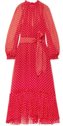 Zimmermann Ninety-six Swing Polka-dot Silk-georgette Midi Dress - Crimson