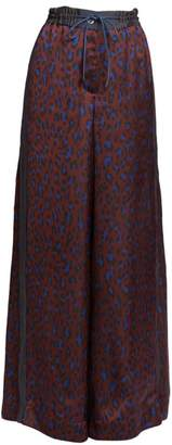 Sacai Satin Leopard-Print Wide Leg Pants