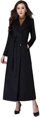 Chickle Women's Cotton Lined Double Breasted Walker Long Wool Dess Coat S