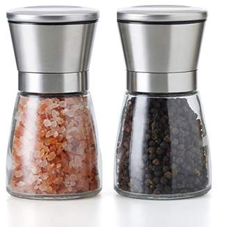 RT Grinder Set of 2 Adjustable Coarseness Salt & Pepper Shakers Glass Mill Brushed