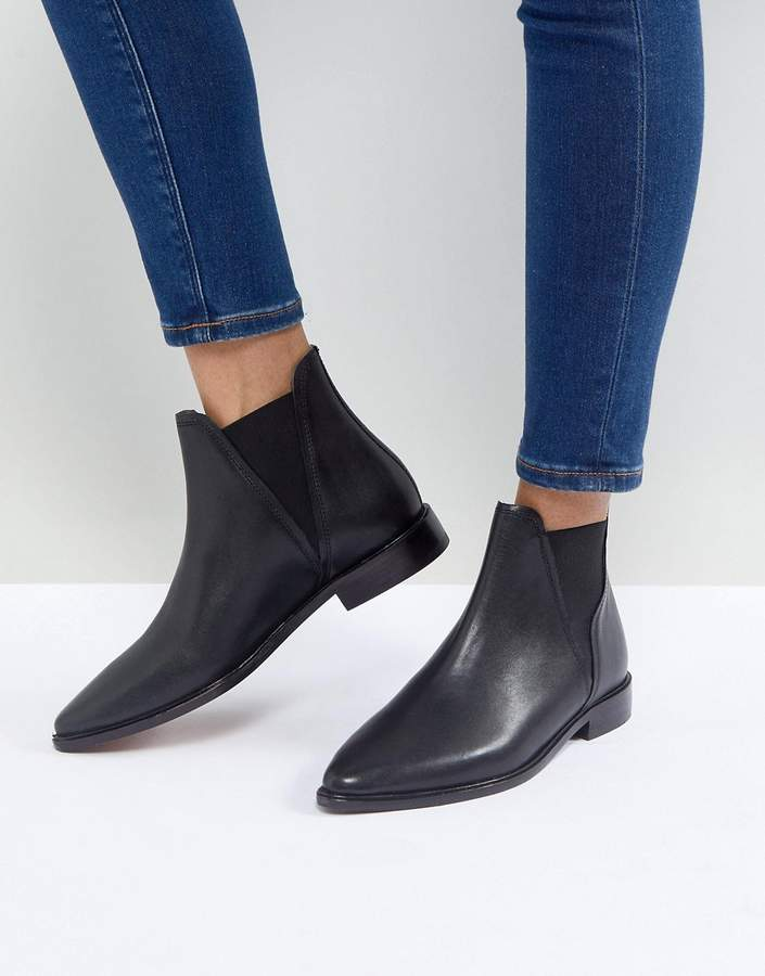 3803167bf02 Hudson Clemence Black Leather Flat Chelsea Boots
