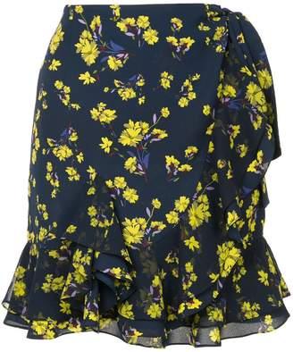 GOEN.J floral printed ruffled wrap skirt