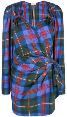 ATTICO check draped mini dress