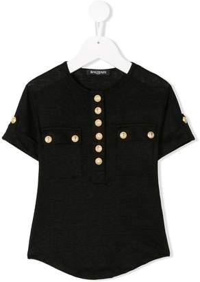 Balmain Kids button embellished T-shirt