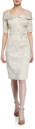 Rickie Freeman For Teri Jon Off-the-Shoulder Short-Sleeve Metallic Stretch Jacquard Sheath Dress