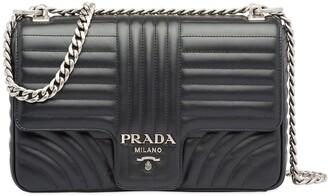 Prada Diagramme large leather shoulder bag