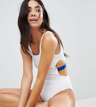 Monki Contrast Cut Out Side Swimsuit