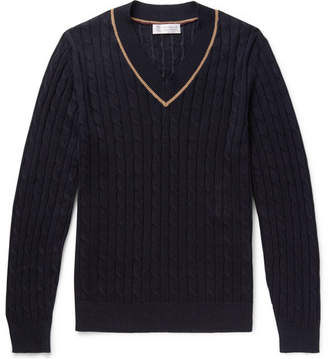 Brunello Cucinelli Cable-Knit Linen and Cotton-Blend Sweater - Men - Midnight blue