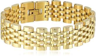 Crucible Jewelry Mens Plated Polished Stainless Steel Brick Link Bracelet (18mm)