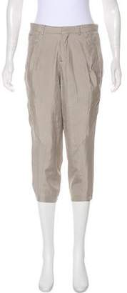 Helmut Lang Silk High-Rise Cropped Pants