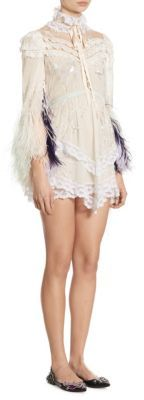 Marc Jacobs Marc Jacobs Lace Feather Mini Dress
