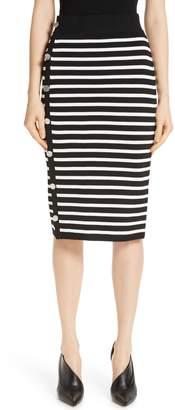 Altuzarra Side Button Stripe Body-Con Skirt