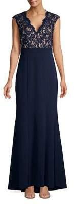 Eliza J V-Neck Lace-Bodice Gown