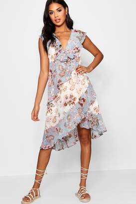boohoo Asymmetric Ruffle Floral Midi Dress