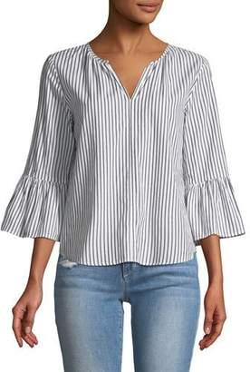 Velvet Albertine Striped Bell-Sleeve Poplin Top