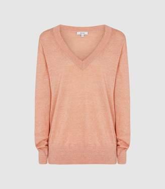 Reiss Vita - Wool Linen Blend V-neck Jumper in Coral