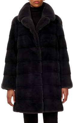 Gorski Reversible Notched-Collar Horizontal Mink-Fur Stroller Coat