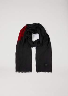 Emporio Armani Scarf In Modal With Wool Inserts