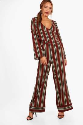 boohoo Wide Leg Stripe Trouser