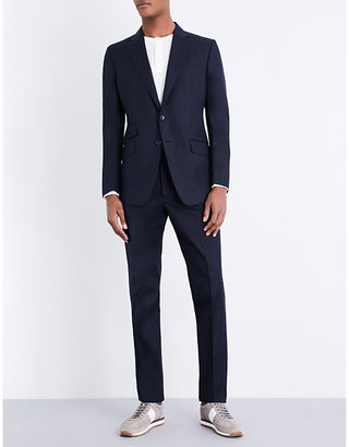 Slim-fit cotton-poplin suit