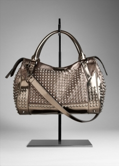 Studded Metallic Leather Bowling Bag