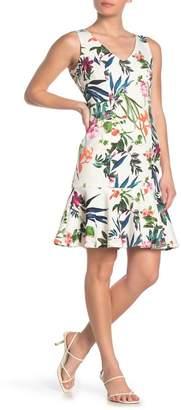 Taylor Floral Print Flounce Hem Scuba Dress