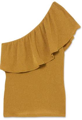 Vanessa Seward Farrah One-shoulder Metallic Ribbed Cotton-blend Top - Gold