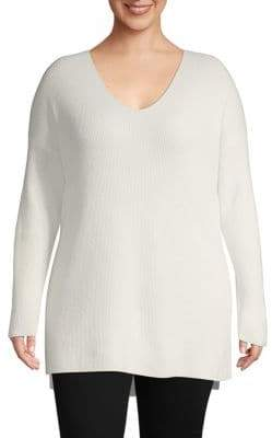 Lafayette 148 New York Plus Ribbed V-Neck Wool & Cashmere Sweater