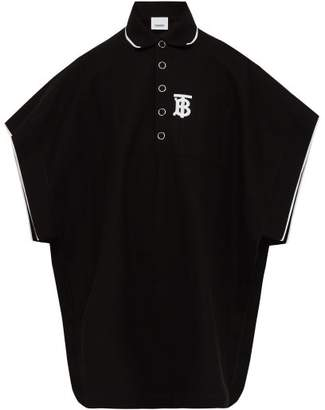 Burberry Monogram Embroidered Cotton Pique Polo Shirt - Mens - Black