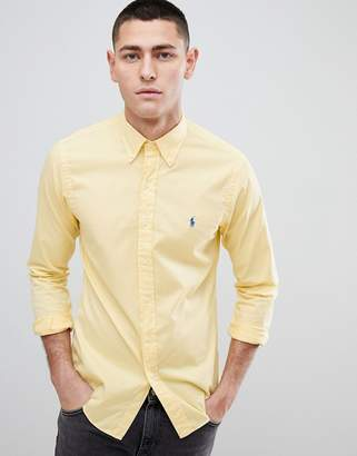 Polo Ralph Lauren Slim Fit Garment Dyed Shirt Polo Player In Yellow